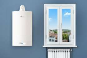 A Worcester boiler and radiator on a summer's day
